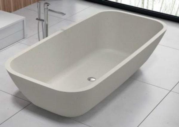 Bañera de terrazo rectangular en blanco