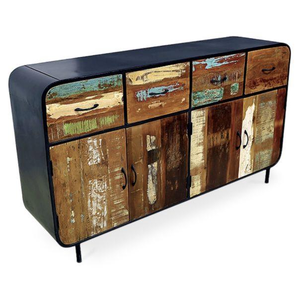 Consola con almacenaje en madera de barco reciclada