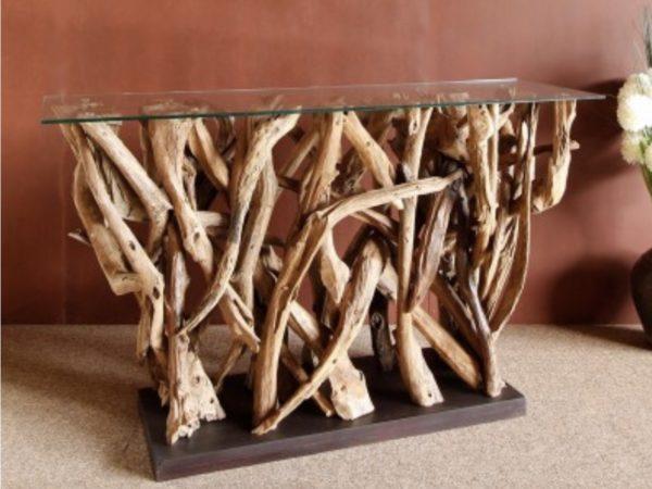 Consola de raíces de teca y cristal