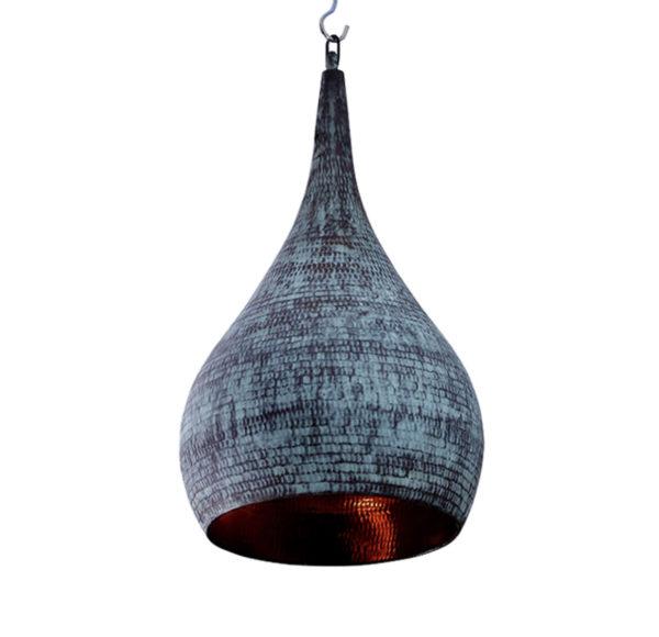 Lámpara de cobre hecha mano. Color turquesa lavado.