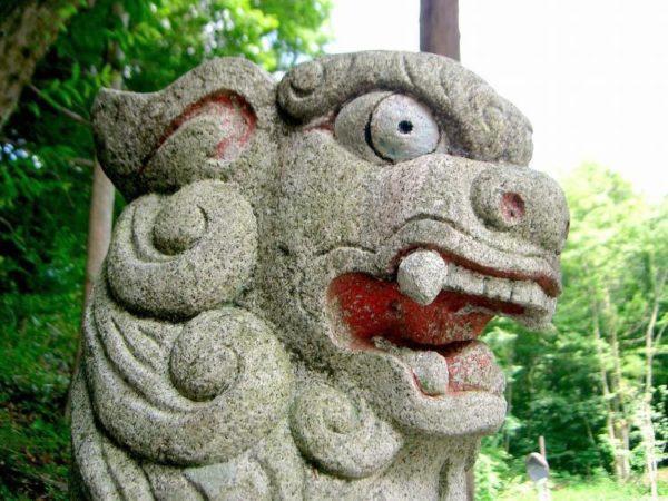 Detalle cabeza de león de Fu.
