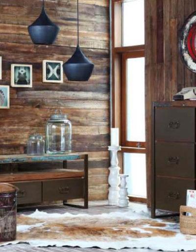 Muebles de madera de barco reciclada estilo industrial