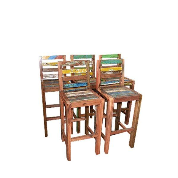 Set de taburetes de madera de barco reciclada