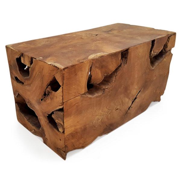 Mesa auxiliar de raíz de teca en bloque.
