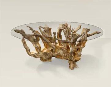 Mesa de raíz de teca con cristal