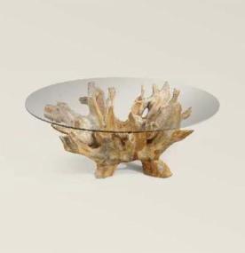 Mesa de café de raíz de teca con cristal
