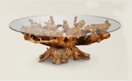 Mesa grande de raíz de teca con cristal