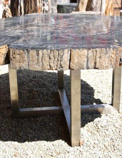 Mesa de madera fósil petrificada